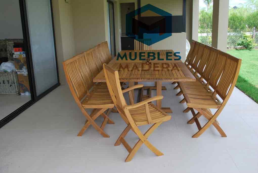 Sillones plegables con apoyabrazos en teka muebles de for Sillones de madera para jardin